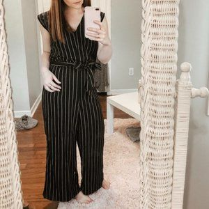Apt 9 Black & White Striped Jumpsuit With Tie